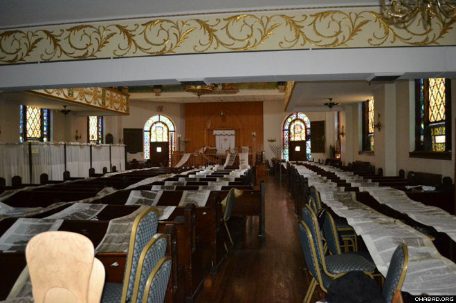 Six Torah scrolls lie unfurled across rows of chairs in the synagogue run by FREE of Brighton, a Chabad-Lubavitch center serving the Jewish community of Brighton Beach, N.Y.
