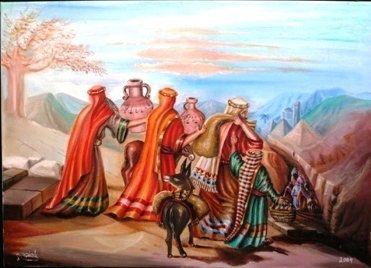 האחים מתכוננים למפגש עם יוסף. ציורה של אהובה קליין (c)