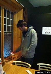 Lighting the menorah in Banff, Alberta.