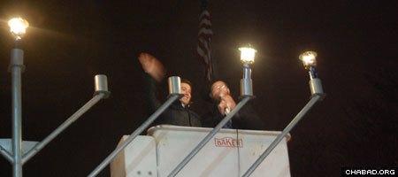 Long Beach city manager Jack Schnirman lit the menorah.