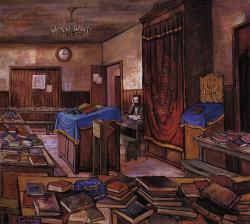Un 'hassid dans le Beth Hamidrach au 770. Illustration de Zalman Kleinman