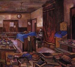 חסיד בבית המדרש ב-770. ציורו של זלמן קליינמן