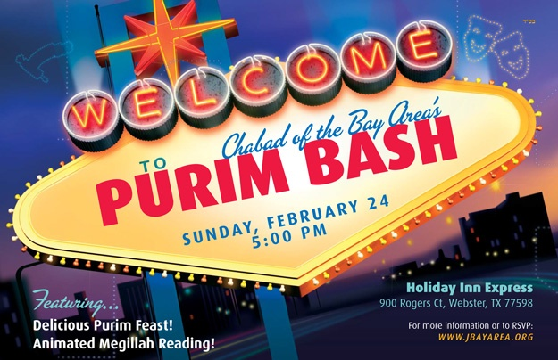 Purim Bash - Sunday, February 24, 5:00 pm, at Holiday Inn Express in Webster. Click to RSVP!