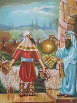 """שילוח העבד לחופשי. מתוך ציורי התנ""""ך של אהובה קליין (c)"""