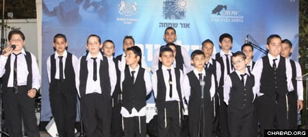 Fifteen boys from Ohr Simcha took part in the production of the musical video about life at their school, and another 15 took part in playing musical instruments.