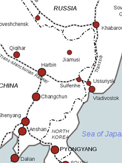 Railway map showing Harbin