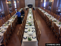 Preparations for Chabad's seder in Washington U's College Hall