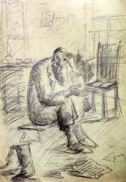"""In Mourning"" by Chassidic artist Hendel Lieberman. Pencil, 1950's"