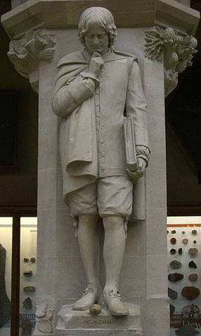 Sir Isaac Newton frozen in contemplation of an apple.