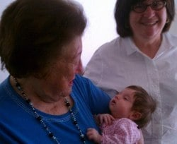 Our last picture of Bubbe: Welcoming her 17th grandchild to the world.
