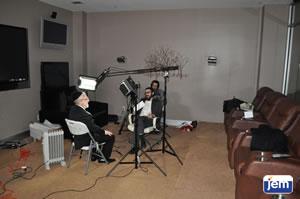Rabbi Michoel Hazan being interviewed in JEM's studio