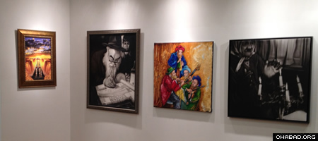 Located in the all-purpose area, the gallery adds an artsy feel to the Chabad center.