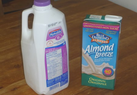 """Regular"" milk and almond milk."