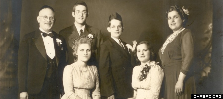 Reb Leibel, second from left, with his family in the 1940s.