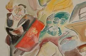 Detail from a drawing by chassidic artist Shoshannah Brombacher