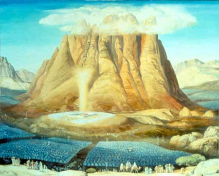 Artist's conception of the Israelite camp in formation around the Tabernacle at the foot of Mount Sinai