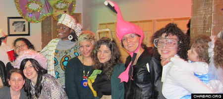 Throughout the year, friends gather at the adjacent Chabad centers in the Williamsburg and Bushwick neighborhoods of Brooklyn, as in the Purim celebration at Chabad of Bushwick.