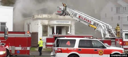 The historic synagogue in Milford, Conn., was nearly destroyed by fire last October.