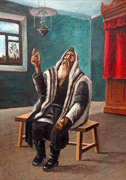 Intense Prayer, oil on canvas by Chanoch Hendel Lieberman, 1962.