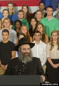 """Rabbi Slonim noted the upcoming Jewish New Year, Rosh Hashanah, and said: """"We pray for a year of light and joy, enlightenment, sweetness, and above all, peace."""" (Photo: Jonathan Cohen / Binghamton University)"""
