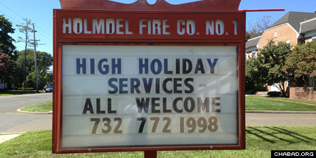In central New Jersey, Rabbi Shmaya and Rochi Galperin of the Chabad Jewish Center of Holmdel have been holding High Holiday services at the local firehouse since 2009—not just because it offers more room, but because it is a well-known landmark familiar to locals.