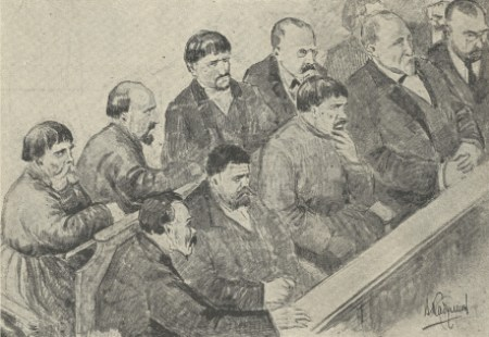An artist's rendering of the jury. More than half the jurors were members of the Union of the Russian People.