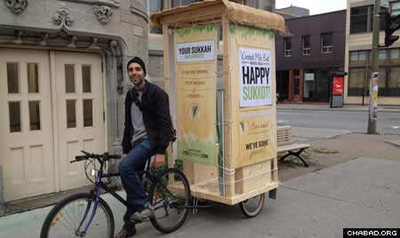 Pedi-sukkah made from an old kiddie stroller on the streets of Montreal last year.