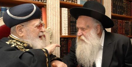 Rabbi Mordechai Ashkenazi, right, with Rabbi Ovadia Yosef (Photo: Meir Dahan)