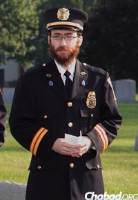 Rabbi Tenenbaum at a Rockville, Md., Volunteer Fire Department memorial service