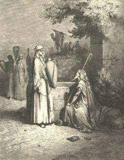"""ציורו של גוסטב דורה """"אליעזר ורבקה""""."""