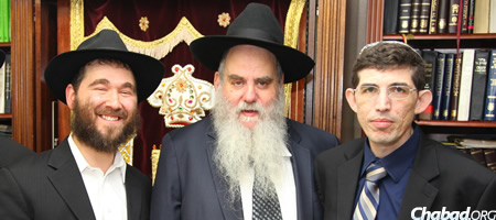 Rabbi Yehuda Dukes, Rabbi Moshe Kotlarsky and Oren Rahat (Photo credit: Bentzi Sasson)