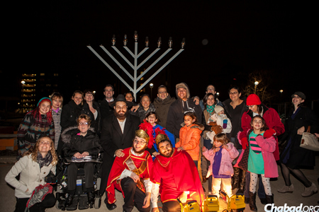 Happy attendees at the first-ever menorah-lighting at Gallaudet University, the national university for the deaf. (Photo: Emily Cohen)