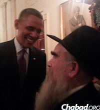 President Obama with Rabbi Abraham Shemtov at the White House Chanukah celebration.
