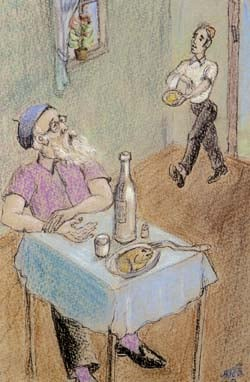 Artist at the Table by Checnoch Lieberman. Color pencil, 1972.