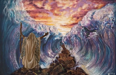 Depiction of Moses Splitting the Sea. (Art by Natalia Kadish)