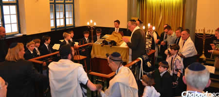 Family and friends from around the world traveled to Southampton, England to celebrate Sam Rachman's bar mitzvah, the first in the city in at least a decade.