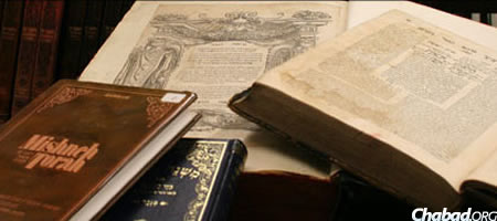 Vintage and recent volumes of Maimonides' code of law, the Mishneh Torah, are housed at the Library of Agudas Chassidei Chabad, the Chabad-Lubavitch central library.