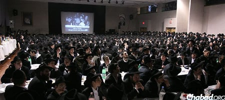 Students at a previous Yud Shevat gathering at Beth Rivkah hall in Brooklyn, N.Y.