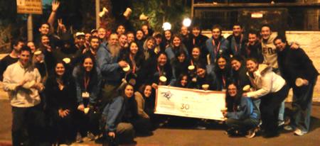 Rabbi Dov Hillel Klein, center left, with Northwestern University students on his 30th Taglit-Birthright Israel Mayanot trip.