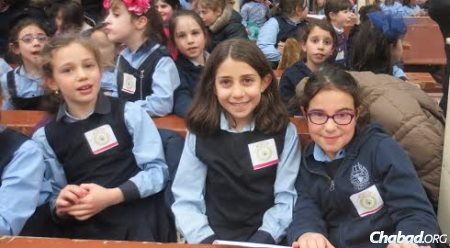 Girls from the Beth Rivkah Schools attended a special gathering at Lubavitch World Headquarters in Brooklyn, N.Y., to mark the 100th anniversary of passing of Rebbetzin Rivkah, after whom the school is named.