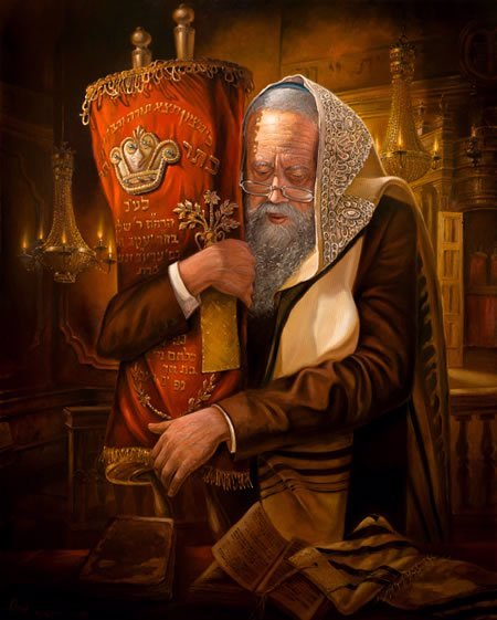 אהבת היהודי לתורה. ציורו של אלכס לוין