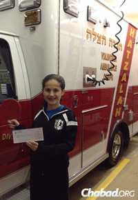 Winners of the Kids Got Talent contest also got a check for their favorite charity. Estee gave a donation to Hatzalah Volunteer Ambulance Corps. of Nassau County, N.Y.