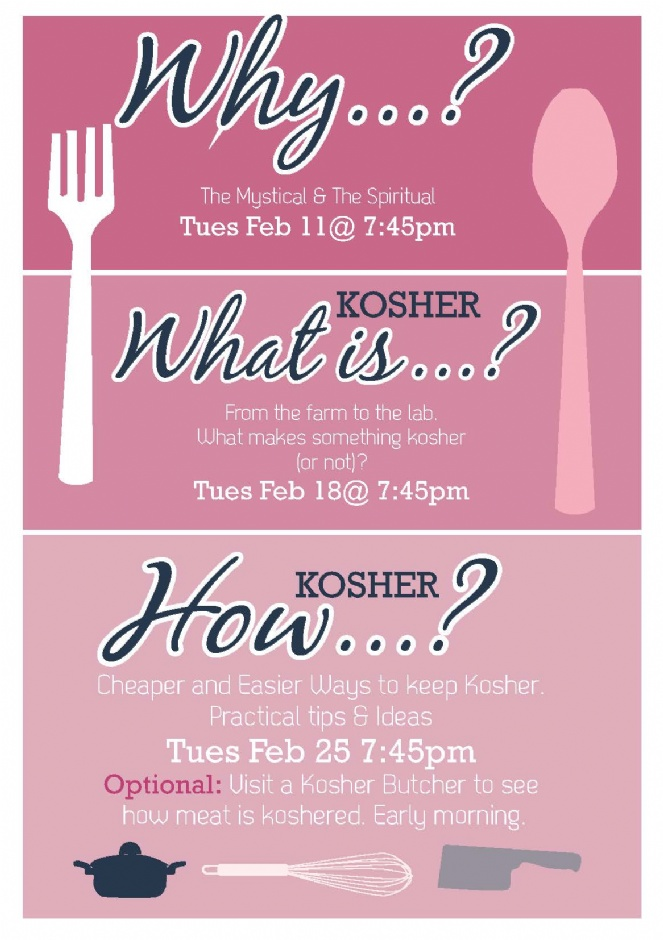 3 parts why Kosher? what is kosher? How Kosher? Tuesday Feb 11, February 18 and Feb 25 at 7:45 pm at MHC