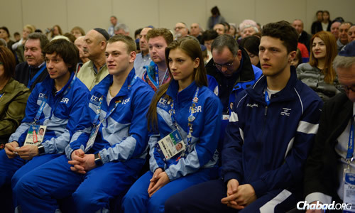 The Sochi Jewish community, and Jewish leaders and visitors from throughout the former Soviet Union, gathered to welcome the Israeli delegation to the 2014 Winter Olympics.
