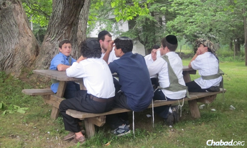 "Deaf boys will be treated to the same Torah-related study sessions and Jewish activities as these campers above, but classes will be give in ""their own language."" (Lman Achai file photo)"