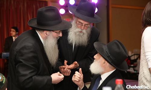 Rabbi Moshe Chaim Levin of Chabad Lubavitch of Kensington in Brooklyn, Rabbi Kasriel Kastel of the Lubavitch Youth Organization and Rabbi Hillel Zaltzman of Chamah. (Photo: Bentzi Sasson)