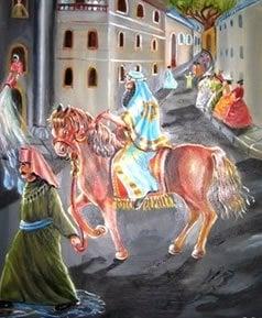 מרדכי רוכב על הסוס. ציורה של אהובה קליין ©