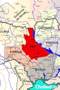 The Podolia and Kiev regions include centers of the Chassidic movement, as well as the birthplaces of many of its early leaders. (Map: Wikimedia Commons)
