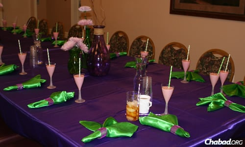 One of the beautiful table settings at the Friendship Circle Retreat in Michigan