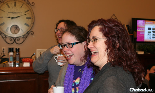 From left: Sarah Rosenzweig, Hayley Snyder and Tali Wendrow take time for a hot beverage ... and a good laugh.